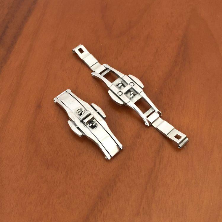 供应现货 不锈钢钨钢双按蝴蝶扣手表链表扣蝴蝶型 适合浪冠琴表带