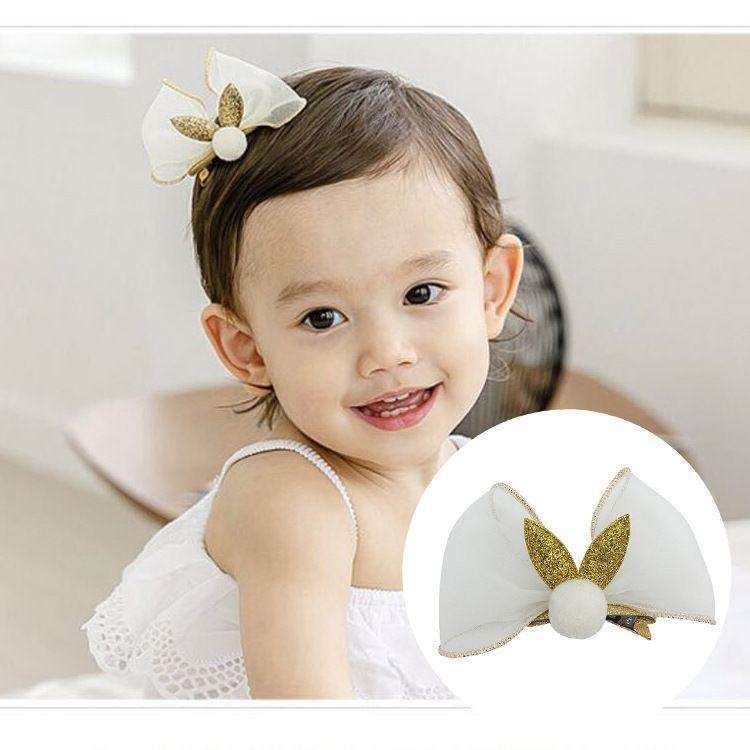 儿童金丝边雪纱蝴蝶结顶夹韩国女童兔耳朵顶夹宝宝可爱周岁夹子