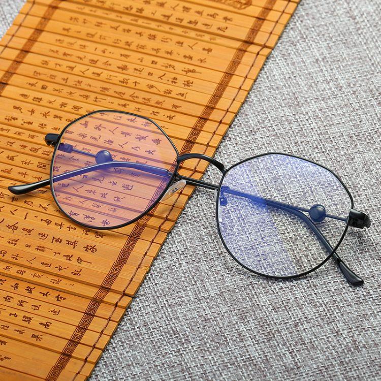 多边形大框防蓝光电脑眼镜圆脸网红平光镜女圆框近视眼镜男潮0235