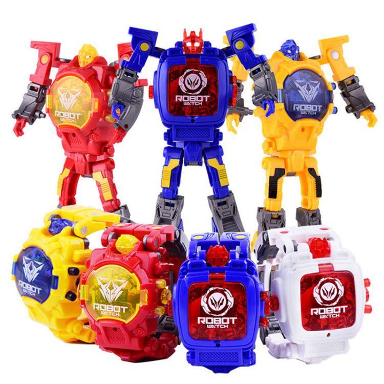 新款热销创意儿童卡通变形金刚电子手表炫酷机器人益智玩具批发