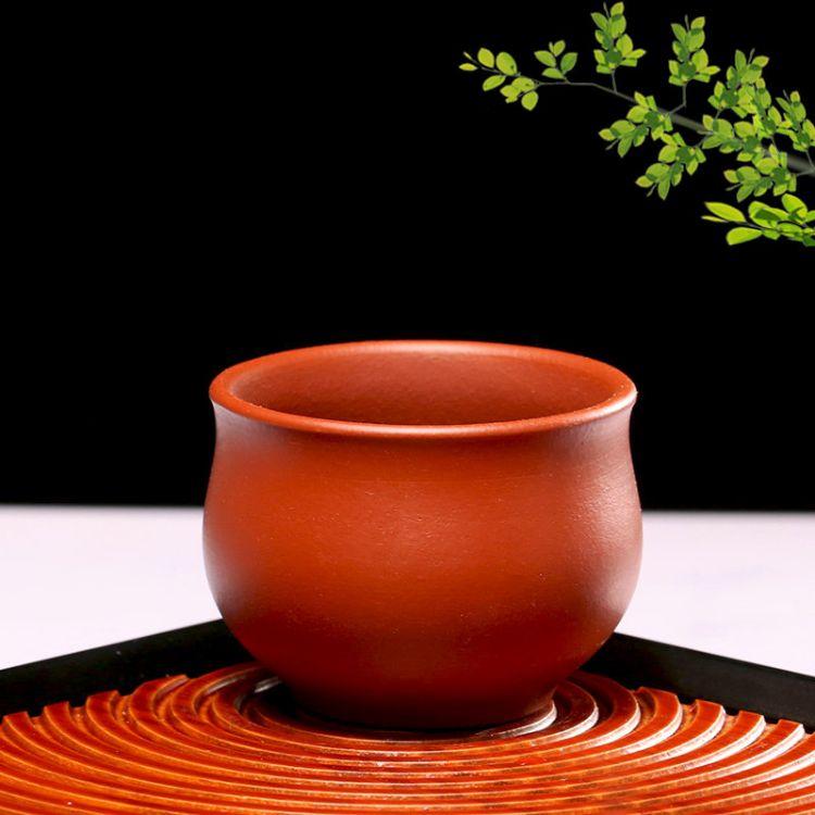 朱泥纯手工个人品茗杯紫砂小茶杯中式现代简约喝茶茶碗圆口主人杯