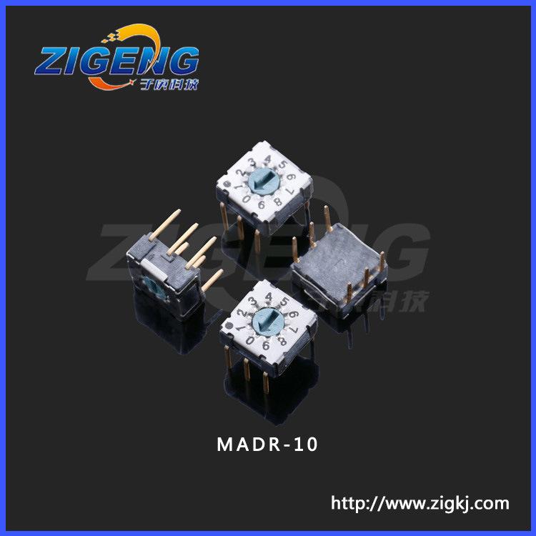 供应MADR-10旋转开关,10档6脚插件编码器拨码开关,7.5*8*3.5旋钮
