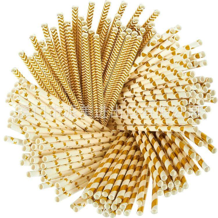 欧美烫金纸吸管 圆点 五角星 波纹 条纹 一次性创意环保可降解