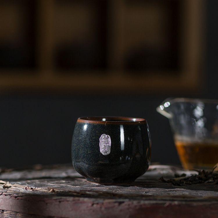 品茗杯日式仿古粗陶窑变茶杯 陶瓷功夫茶具大号主人杯单杯茶碗