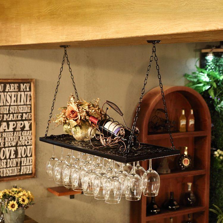 创意现代铁艺酒杯架红酒杯架倒挂家用红酒架高脚杯架倒挂置物架