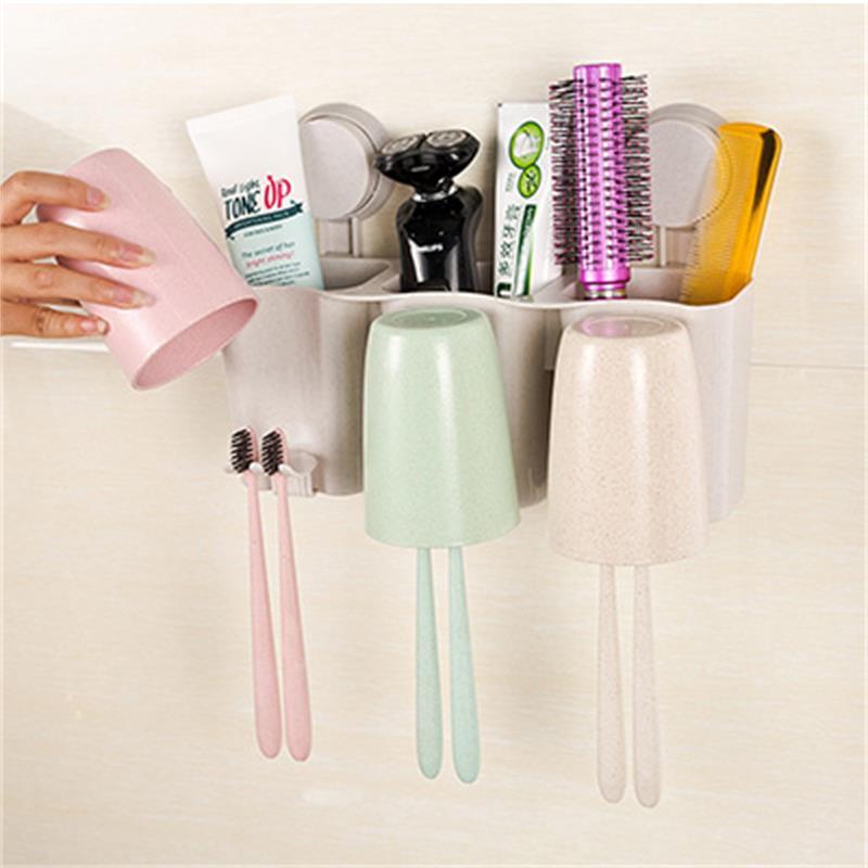 小麦秸秆双吸盘牙刷架洗漱套装(785B)带收纳盒 牙刷架漱口洗漱杯