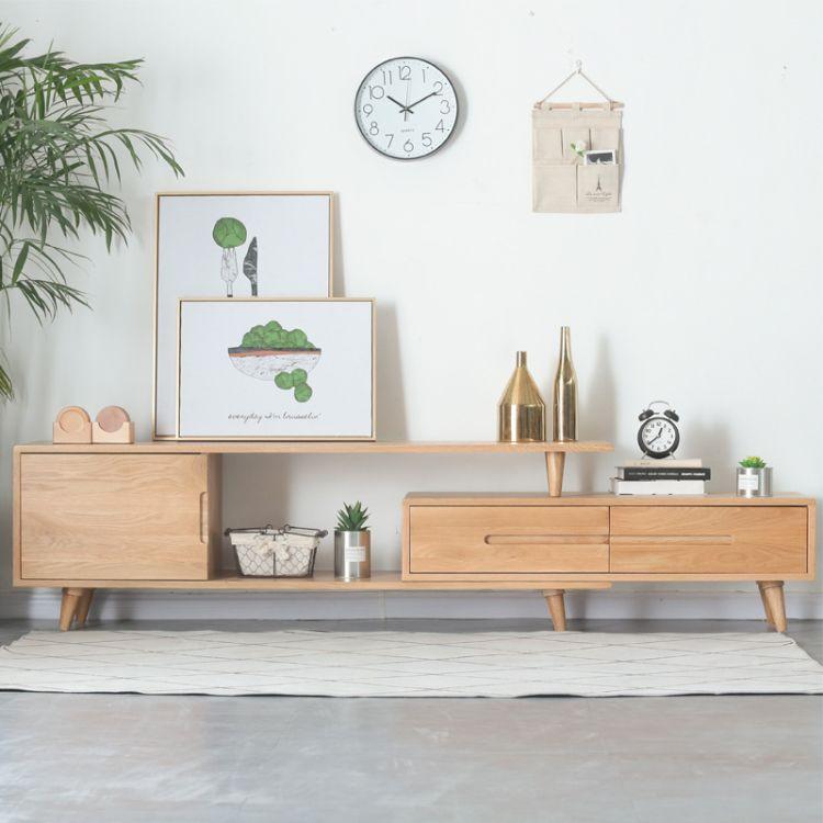 北欧实木可伸缩电视柜现代简约多功能地柜组合客厅橡木视听电视柜