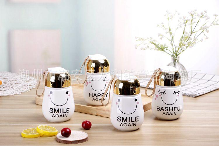 卡通灯泡表情陶瓷杯礼品马克咖啡杯子 赠品广告促销杯定制LOGO