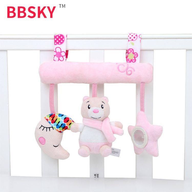 可爱创意横杠车挂床挂带发声音乐盒粉熊月亮五角星床挂玩具批发