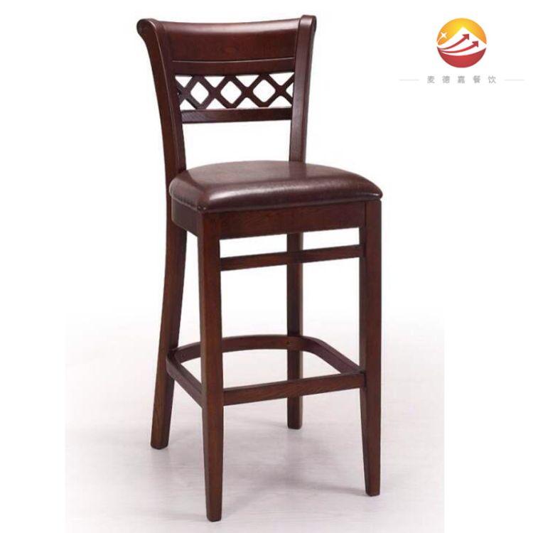 现代休闲高吧台组合桌椅现货实木吧凳小吃店书吧图书管甜品店高椅