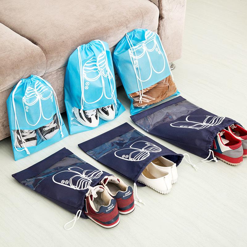 旅行鞋子收纳袋子鞋包装鞋袋鞋罩束口抽绳防尘袋简约鞋盒鞋套拖鞋