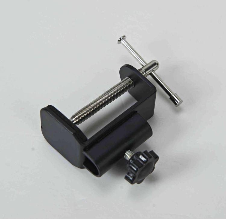 麦克风支架固定铁夹 摇臂平板支架工字固定底座铁夹 T2.8可夹50MM