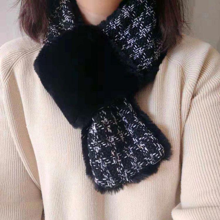 韩版秋冬季保暖围脖女秋冬季学生小香风格子套头脖套仿獭兔毛围巾