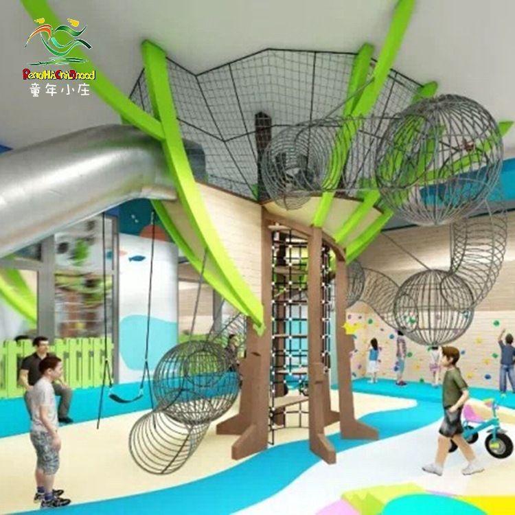 幼儿园攀爬网钻网设备定制户外拓展大型儿童爬网钻洞荡桥游乐设施