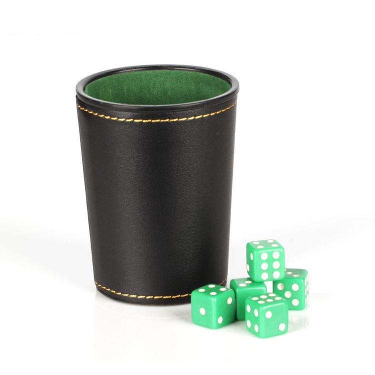 天猫爆款喇叭皮革+绒布骰子杯 工厂现货批发 皮质礼品骰钟