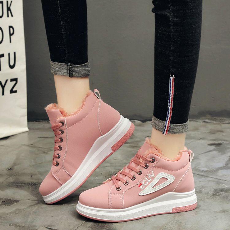 高帮女鞋冬季韩版高中女生加绒保暖学生棉鞋时尚百搭少女运动短靴
