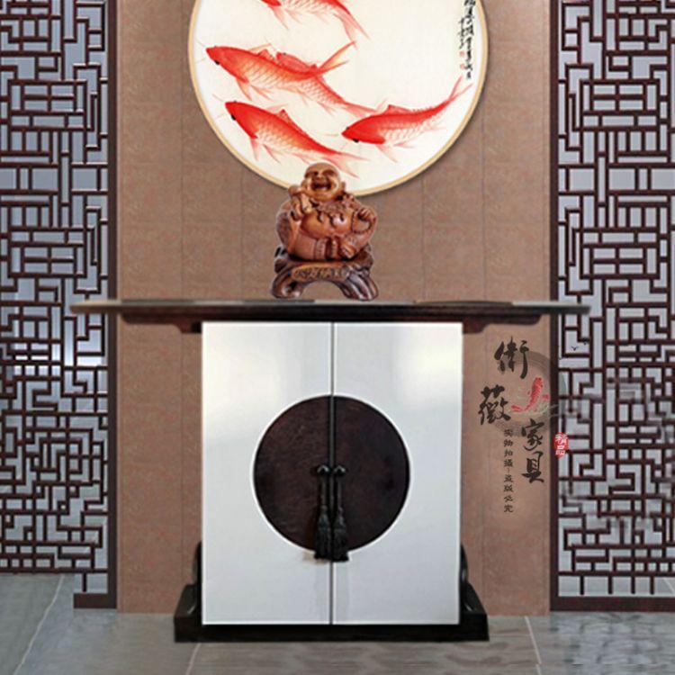 新中式实木禅意入户玄关柜现代简约玄关台端景台条案酒店会所家具