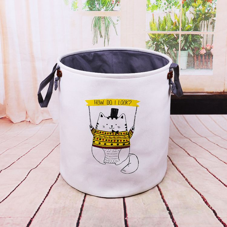 得意猫收纳桶脏衣篮 大号防水卡通布艺收纳篮整理筐置物桶