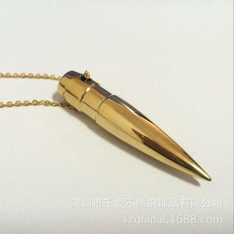 千爱钛钢项链 不锈钢首饰 外贸原单厂家直销 子弹头吊坠 欧美流行