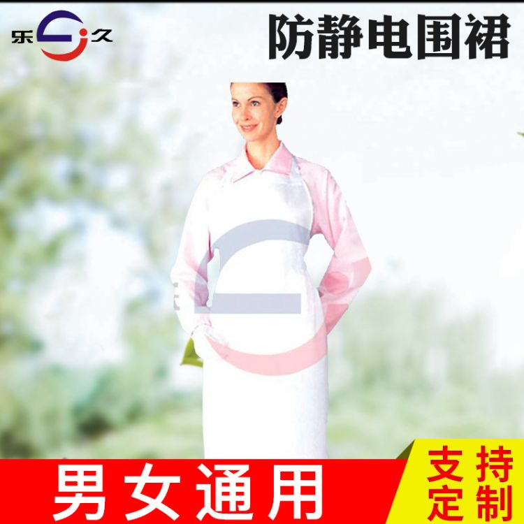 乐久 防静电围裙 白色无尘净化车间围裙 防尘洁净室工作