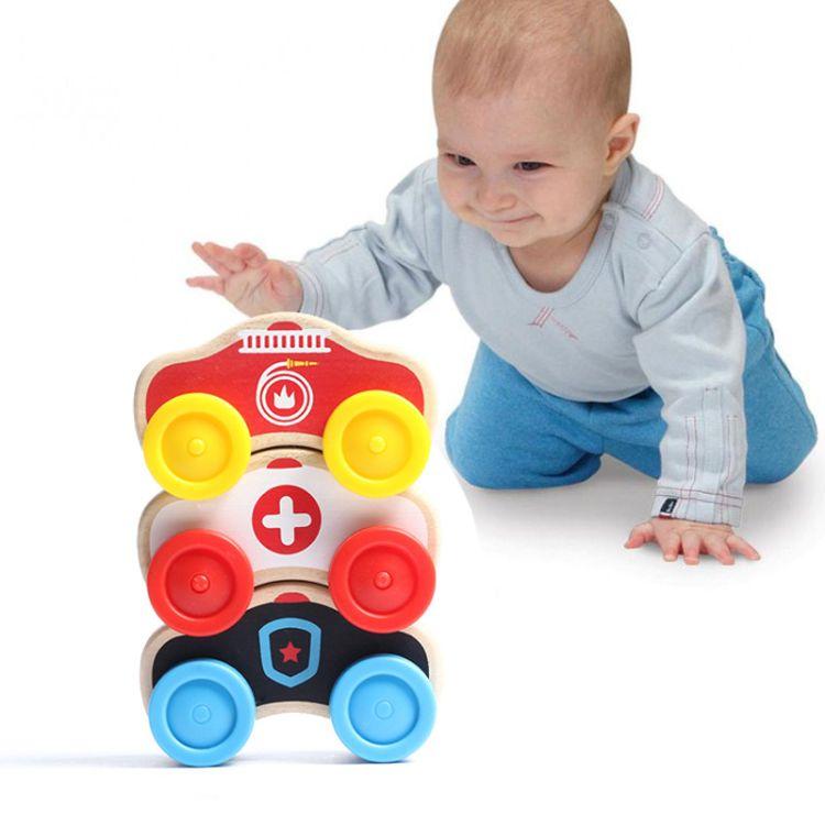 儿童木制早教益智认知小车 过家家玩具 手眼协调抓握玩具车