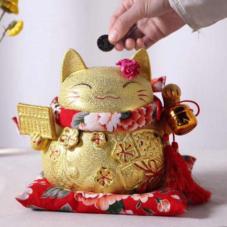 厂家直销德化陶瓷8寸电镀金色招财猫批发 存钱罐家居摆件摆设礼品