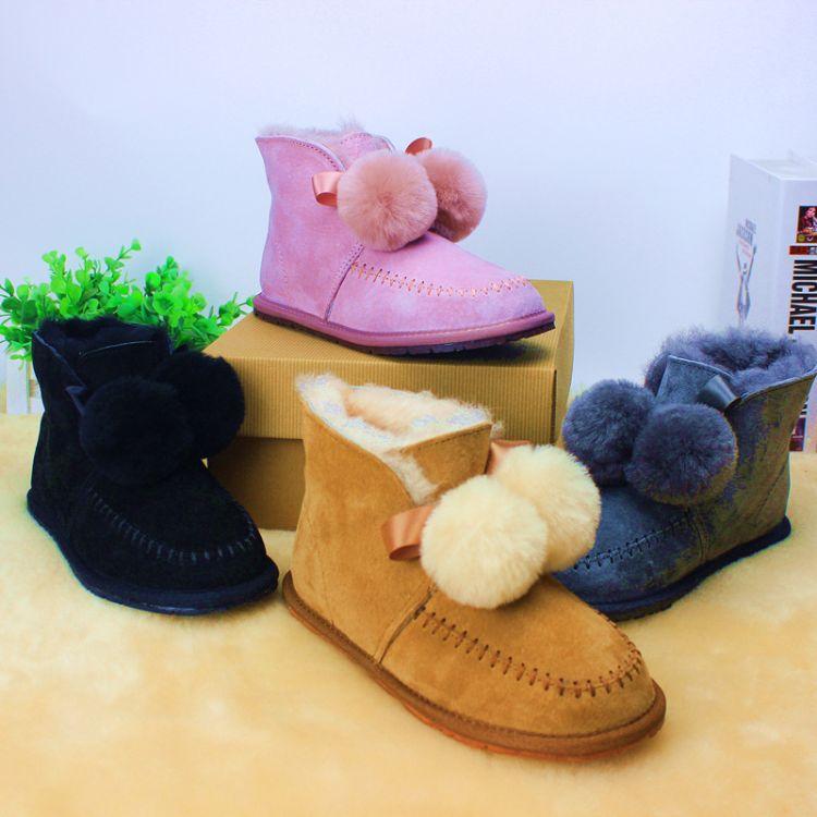 凯琳冬季新款女士雪地靴儿童亲子款八革毛球休闲羊毛加绒保暖棉鞋