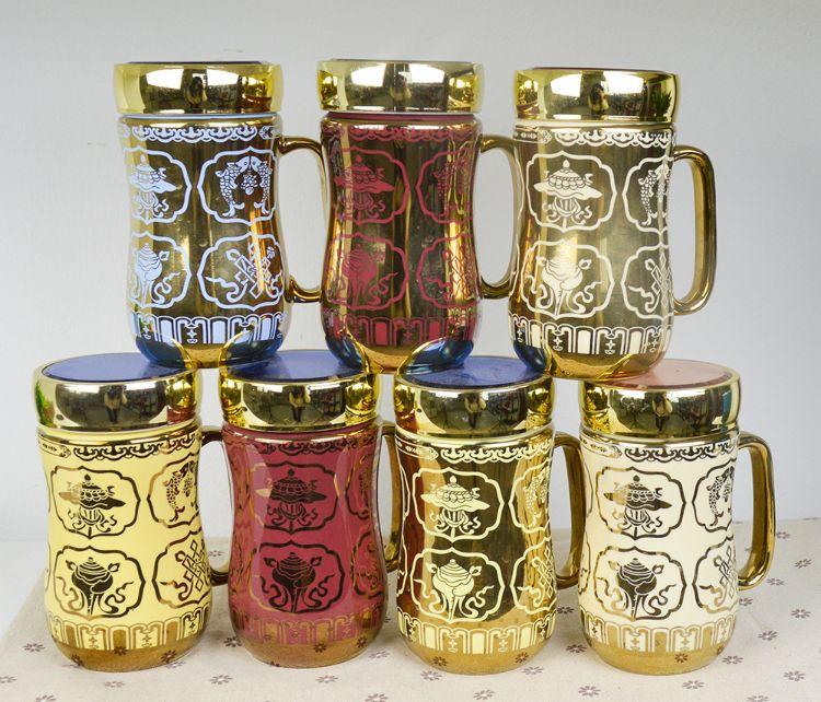 杯子创意家用马克杯带盖蒙古民族杯风格礼品陶瓷咖啡杯办公室水杯