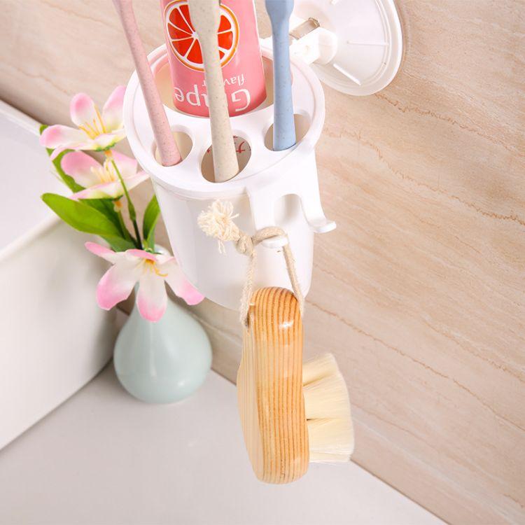 双庆一代强力吸盘牙刷筒洗漱架剃须刀架牙刷架多功能浴室用品1927