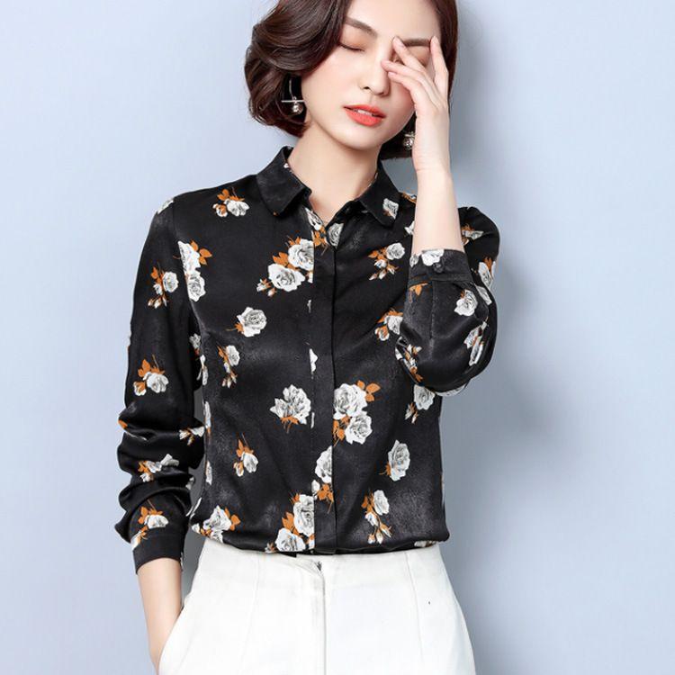 印花衬衣女长袖秋装新款韩版宽松显瘦翻领职业装桑蚕丝衬衫女上衣