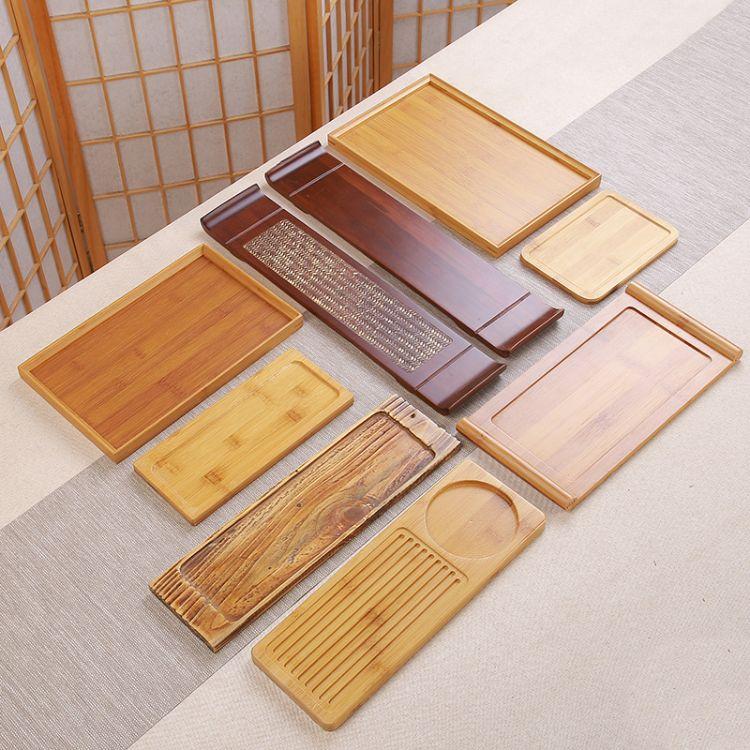 家用简约竹茶盘 竹制长方形干泡盘 日式排水功夫茶具套装茶台茶托盘