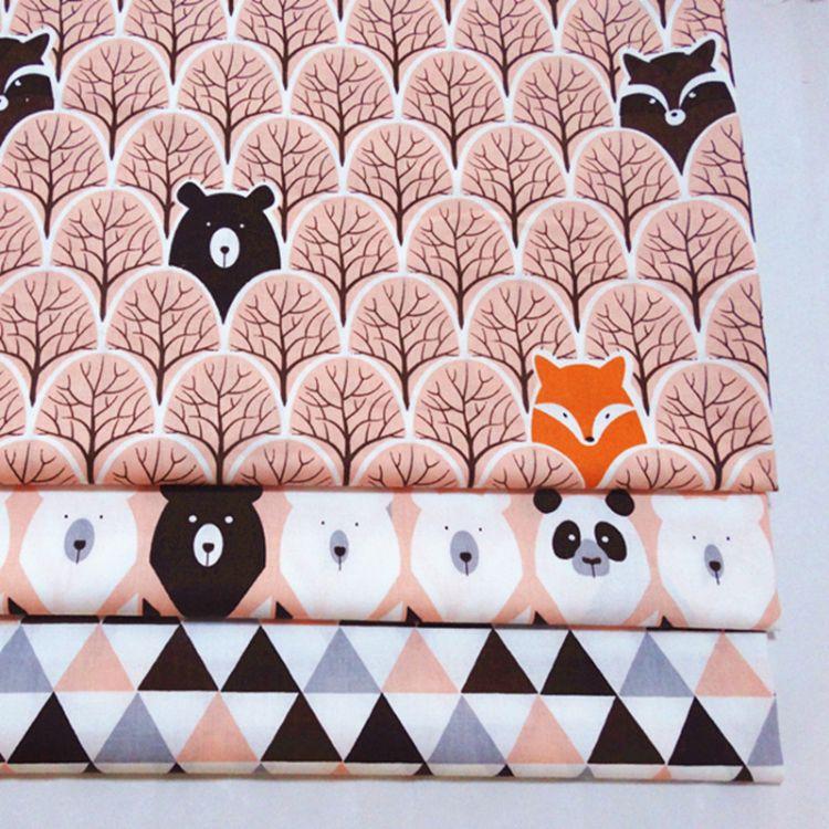 直销全棉纯棉印花卡通布料床品宝宝面料批发1.6米宽丛林熊