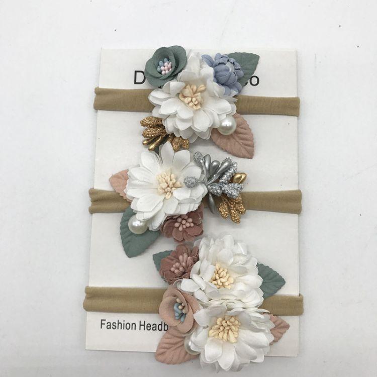 亚马逊跨境爆款纯手工花朵松紧头带 宝宝珍珠仿真花尼龙无痕发带
