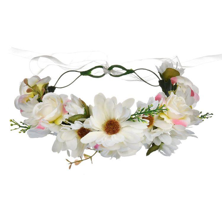 亚马逊 热销欧美新娘花环发饰 街角长裙发饰花朵配件 DIY手工花环