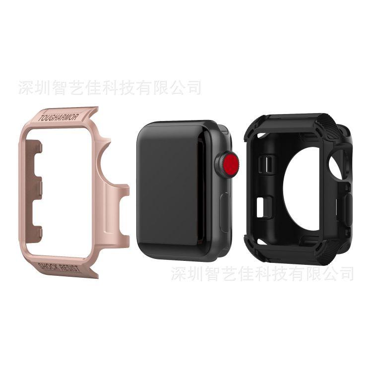 适用apple watch苹果手表保护壳1 2 3代通用苹果pc+tpu硅胶保护壳