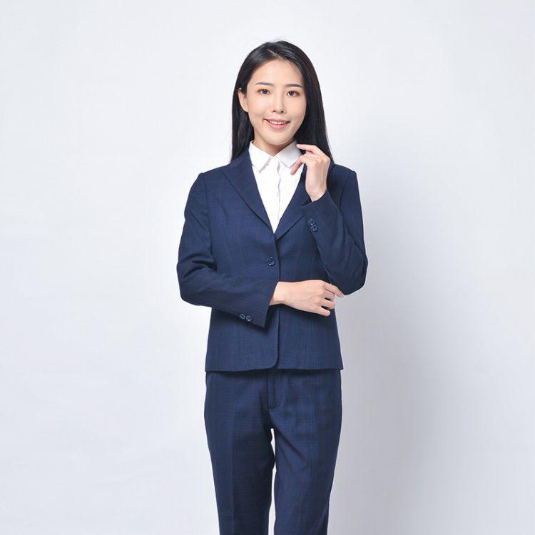 成都厂家定制定订做深蓝色格子女装正装韩版西服西装职业装套装