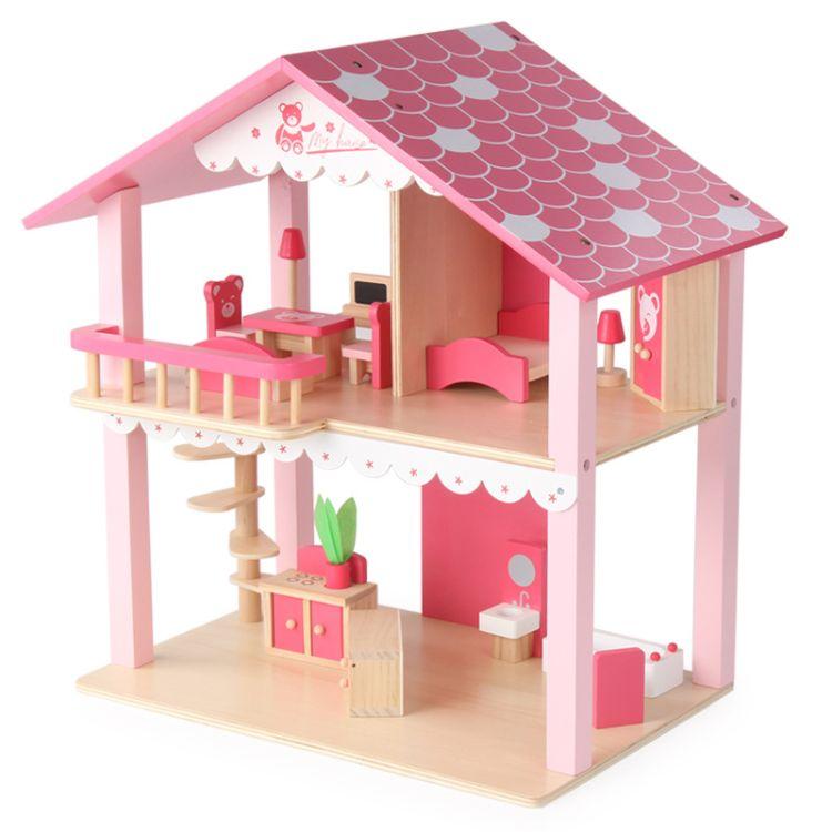 新年节礼物木制娃娃房粉色小熊仿真别墅亲子互动女孩过家家玩具