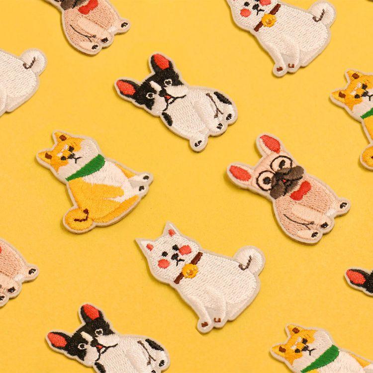 UPICK原品生活 创意刺绣布贴小狗饰品手机贴可爱贴纸