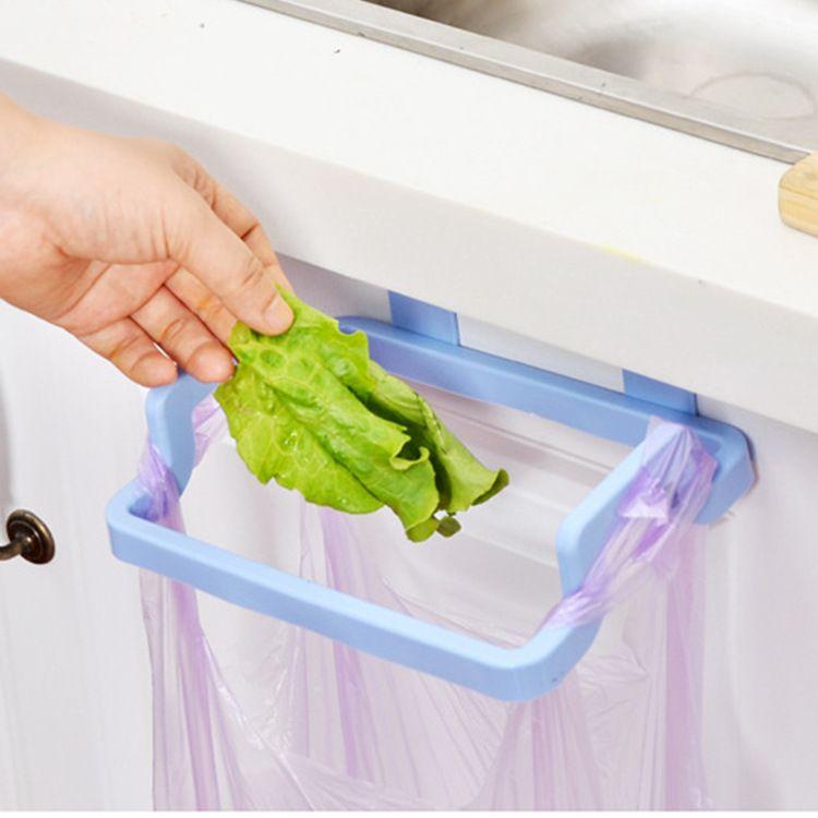 创意塑料门背式垃圾袋架子 多功能厨房橱柜门后抹布挂架收纳挂钩