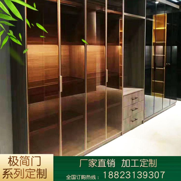 窄边框极简玻璃门卫生间厨房平移玻璃门客厅阳台铝合金吊轨推拉门定制