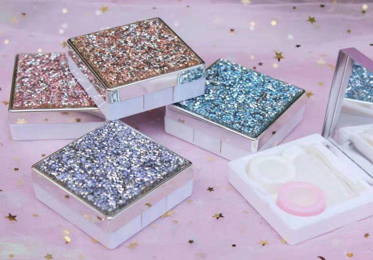 供应流沙版网红美瞳盒 钻石流水伴侣盒粉色小盒隐形眼镜盒