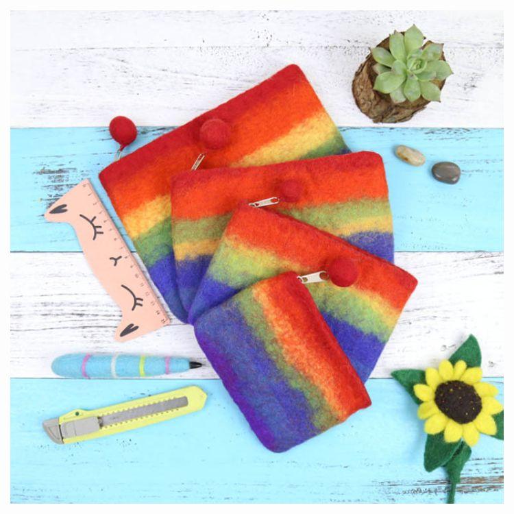 尼泊尔手工羊毛毡戳戳乐彩虹系列零钱包手拿包迷你手机包