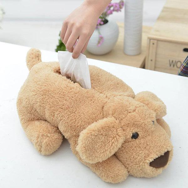 可爱卡通泰迪狗公仔大号纸巾套毛绒餐巾纸盒创意车用纸抽纸盒抽