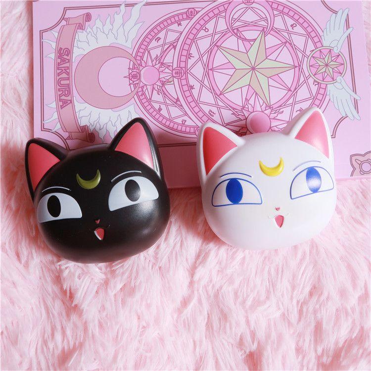 日系美少女战士露娜隐形眼镜收纳盒 卡通二次元可爱猫咪美瞳伴侣