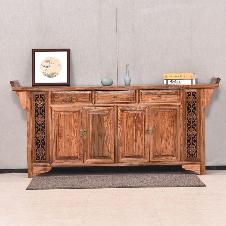 明清仿古家具 实木榆木 中式古典条案桌 供台 铜钱供桌