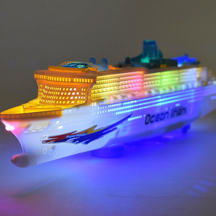 产地批发电动游轮船 塑料仿真船模型灯光音乐儿童电动万向玩具船