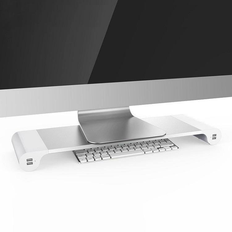 台式电脑液晶显示器增高架USB充电多功能桌面键盘收纳架底座托架