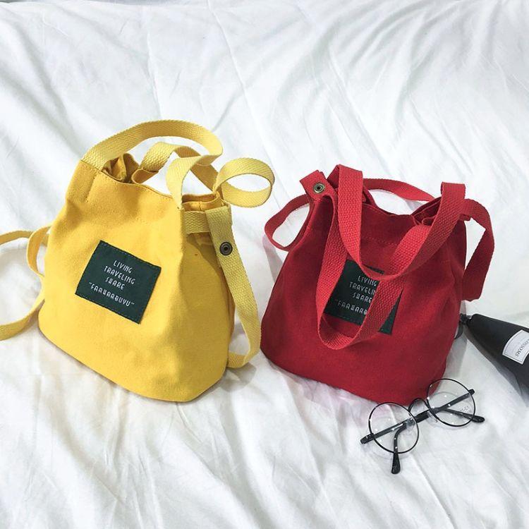 2018女包新款 字母水桶帆布包  潮流单肩斜挎手提儿童小包 手机包