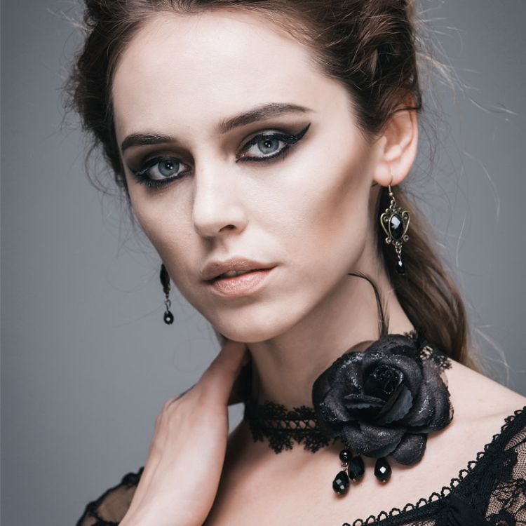 跨境专供 新款哥特GOTHIC蒸汽朋克黑玫瑰蕾丝花边衣领颈带项链