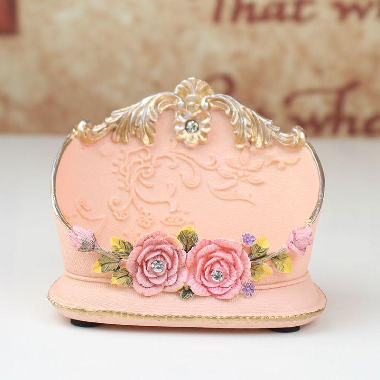 时尚创意简约名片盒办公室桌面名片座小摆件树脂工艺品商务小礼品